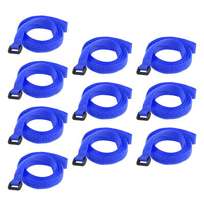 10pcs Hook and Loop Straps, 3/4-inch x 39-inch Securing Straps Cable Tie (Blue)