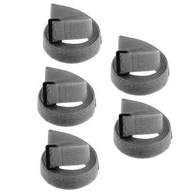 5pcs Hook and Loop Straps, 1-inch x 39-inch Securing Straps Cable Tie (Gray)