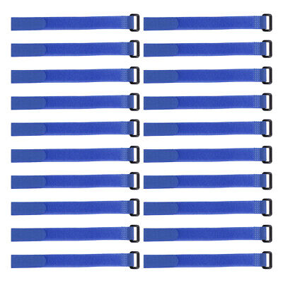 20pcs Hook and Loop Straps, 3/4-inch x 16-inch Securing Straps Cable Tie (Blue)