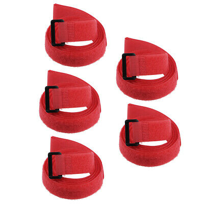 5pcs Hook and Loop Straps, 1-inch x 39-inch Securing Straps Cable Tie (Red)