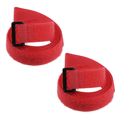 2pcs Hook and Loop Straps, 1-inch x 39-inch Securing Straps Cable Tie (Red)
