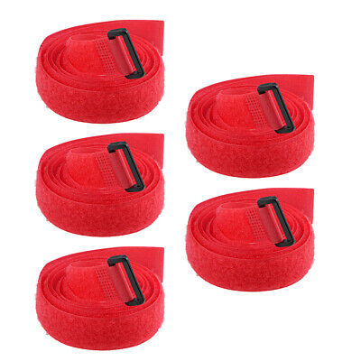 5pcs Hook and Loop Straps, 1-inch x 47-inch Securing Straps Cable Tie (Red)