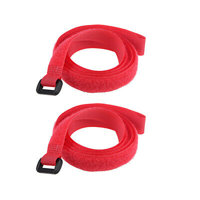 2pcs Hook and Loop Straps, 3/4-inch x 39-inch Securing Straps Cable Tie (Red)