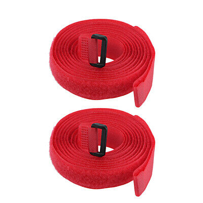 2pcs Hook and Loop Straps, 3/4-inch x 79-inch Securing Straps Cable Tie (Red)