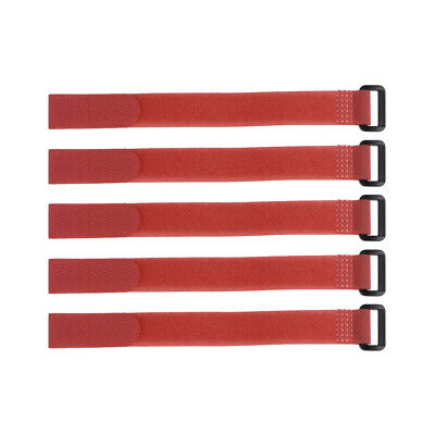 5pcs Hook and Loop Straps, 3/4-inch x 6-inch Securing Straps Cable Tie (Red)