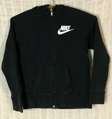 NWT Girls Youth Nike Sportswear Zip-Up Hooded Sweatshirt 860099 010 Black