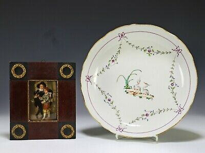 Antique Hand Painted Porcelain Plaque with Meissen Chinese Export Dish
