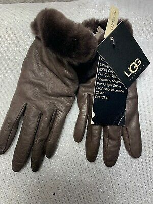 NWT UGG Authentic REAL FUR LEATHER Brown Gloves sz Small Free Shipping MSRP $110
