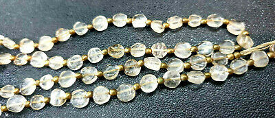 Ancient Roman Flat Rock Round Crystal Near Eastern Bead Necklace