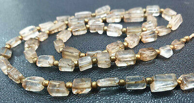 Ancient Roman Flat Rock Square Crystal Near Eastern Bead Necklace