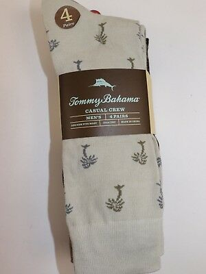 NWT TOMMY BAHAMA 4 Pairs One Size Men's Multi-Color TB Logo Casual Crew Sock