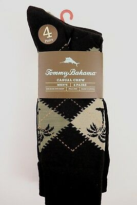 NWT TOMMY BAHAMA 4 Pairs  One Size Men's Black Assorted TB Logo Casual Crew Sock