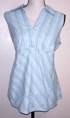 Duo Maternity Womens Top Size Large L Blue Striped Sleeveless Shirt Blouse