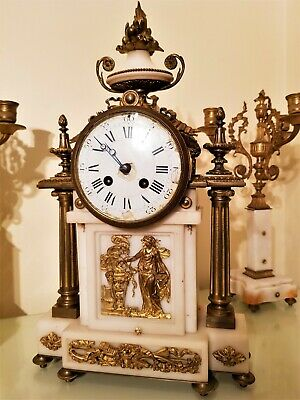 Large Antique French Ormolu and White Marble Mantel Clock.