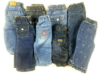 Lot Of 8 Toddler Girls and Boys Jeans Size NB to 12M Months Various Brands