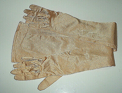 Rare Vintage Dents Ladies Gold Colour Stretch Helanca Full Length Evening Gloves