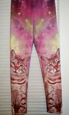 Large Face Cat Girls Leggings stretchy pants Pink Youth Size MEDIUM NEW w/ TAGS