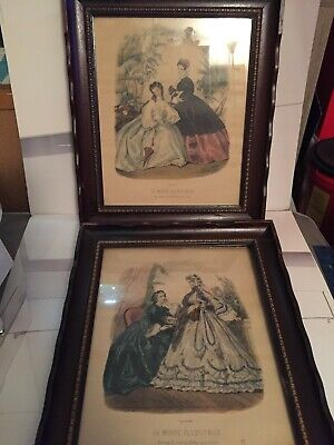 "4 Vintage ""La Mode Illustree"" Ladies Paris  Fashion Prints Picture Frames"