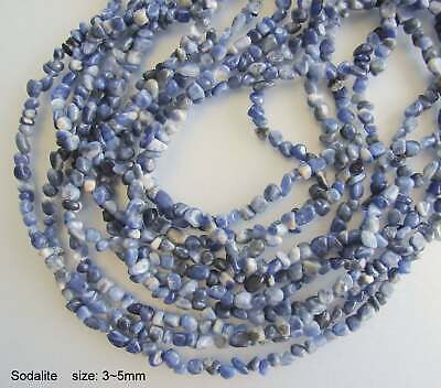 Sodalite, Chip Gemstone Strands, The beads about 3~5mm; hole: 0.8mm; 15.5""