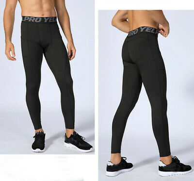 Men's Cycling Running Compression Gym Tights Sports Pants With Pocket