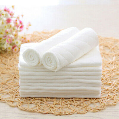 10 Pcs Reusable Washable Cotton Baby Cloth Diaper Nappy Liners Insert 3 Layers