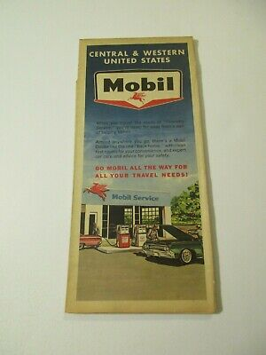Vintage 1964 Mobil Central & Western United States Travel Road Map~Box F3