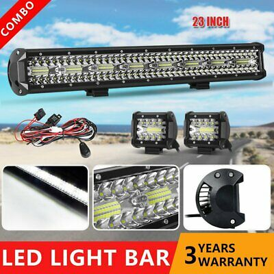 23inch Combo LED Light Bar +4'' Work Lamps Flood Spot Offroad Driving Bar +Wire