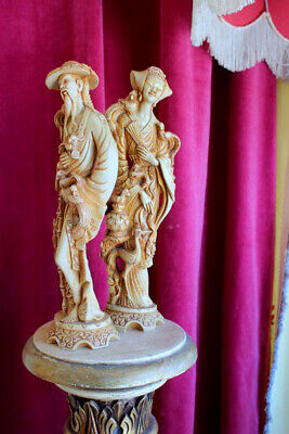 Antique Vintage Pair Male & Female Oriental Chinese Resin Figures Statue Sale