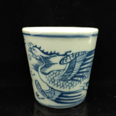 Chinese Blue and white porcelain Hand Dragon &Phoenix  Painted pattern cup