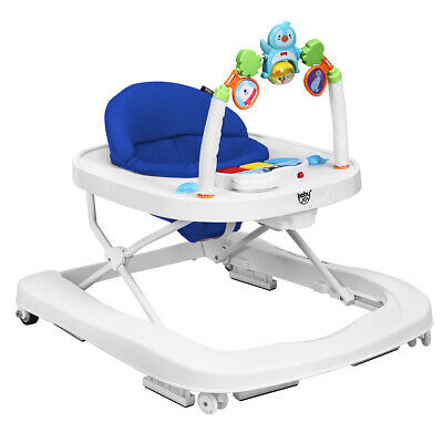 2-in-1 Foldable Baby Walker w/ Adjustable Heights & Detachable Toy Tray Blue