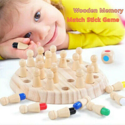 Kids Wooden Memory Match Stick Chess Game Children Kids Puzzle Educational ToyBO