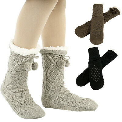 Ladies Soft Fluffy Fleece Lined Gripper Bed Slipper Socks Thick Winter Warm Sock