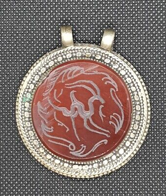 Vintage Beautiful Old Silver Lovely Pendant With Agate Stone Deer Intaglio