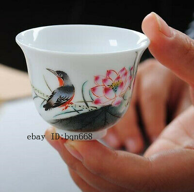 Chinese jingdezhen Porcelain ceramic famille rose Hand painting Lotus tea cup