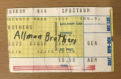 1973 The Allman Brothers Band Philadelphia Concert Ticket Stub Gregg Dicky Betts