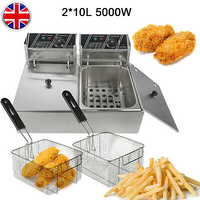 2.5KW 10L/ 5KW 20L Electric Deep Fryer Fat Commercial Handle Basket Fry Chip Pan