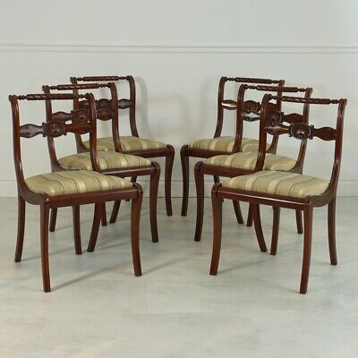Set of 6 English Regency style Mahogany Traditional dining side chairs