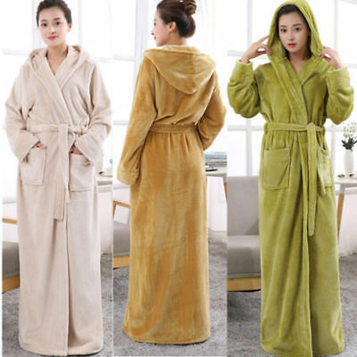 NEW LADIES Towelling Bath ROBE SOFT COSY LONG HOODED WINTER FLEECE DRESSING GOWN