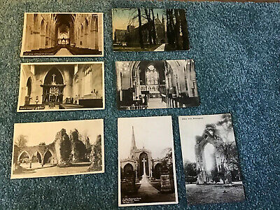 Job Lot Of 7 Antique Postcards. Various Churches, Abbeys And Cathedrals