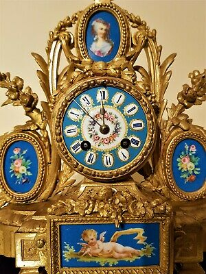 Antique French Gilt & Porcelain Panels Mantel Clock.
