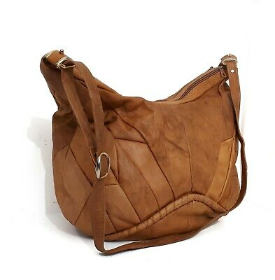 Vintage Genuine Tan Leather  Made in Italy Shoulder Hobo Bag