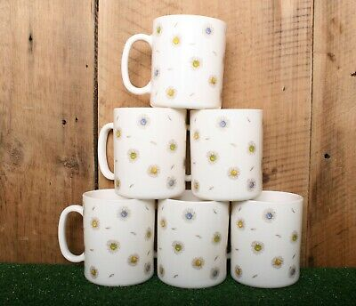 6 Pc. Lot Vintage ARCOPAL France Daisy Floral Milk Glass Coffee Cups Mugs
