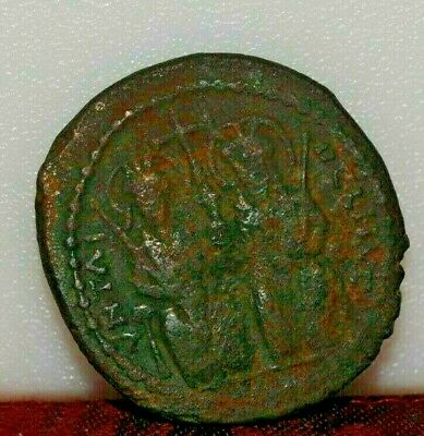 Byzantine Ancient Coin Justin & Sophia Follis Ad 577/8 Theoupolis Mint