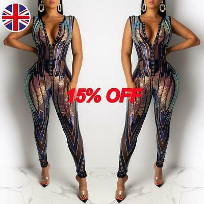 Women Sexy Sparkly Sequin Sleeveless Jumpsuit Evening Party Clubwear Playsuit UK