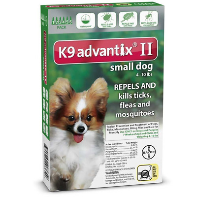 K9 Advantix II for Green Small Dog 4-10lbs - 6 Pack (US EPA Approved)
