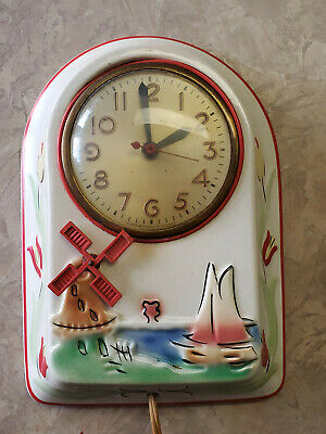 Vintage ~MASTERCRAFTERS Windmill Clock by Ceramic Clock Company~ Works
