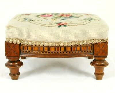 Antique Embroidered Footstool, Low Foot Stool, Victorian, Scotland 1880, B1733