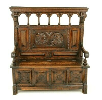 Antique Hall Bench, Monks Bench Settle, Entryway Furniture, Scotland 1870, B1742