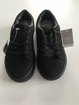 Next Girls Black Trainers Size 9/26.5 New With Tags RRP £21