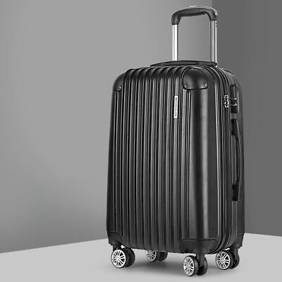 """28"""" Retractable Trolley Luggage Hard Shell Travel Bag Suitcase Lightweight Black"""